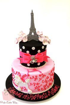 Parisian Themed 1st Birthday Cake!