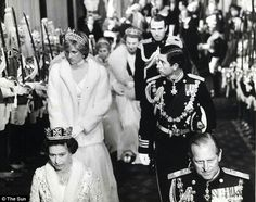 November 04, 1981: The Queen, Princess Diana, Prince Charles and Prince Philip pictured at the opening of Parliament in 1981.