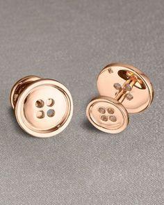 gemelos para novio en oro rosa con forma de botón