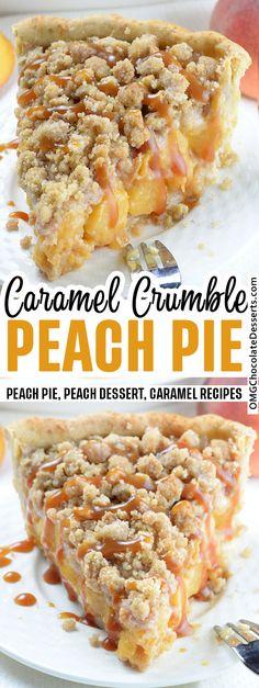 Peach Pie is such an easy pie recipe.Each sweet slice is packed with old-fashioned appeal. A delightful summertime pie. #peach #pie Köstliche Desserts, Dessert Recipes, Chocolate Desserts, Peach Crumb Pie, Pie Crumble, Peach Cobbler Crumble, Best Pie, Fruit Pie, Comfort Food