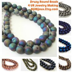 #Druzy Round #Beads 4 Jewelry Making #BijiBijoux #Diy #Craft #beading #supplies https://www.etsy.com/listing/232524856/dark-purple-druzy-agate-beads-purple?ref=shop_home_active_1