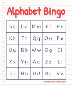 Bingo Cards To Print, Free Printable Bingo Cards, Bingo Card Template, Templates Printable Free, Abc Bingo, Alphabet Bingo, Alphabet Cards, Bingo Games, Educational Activities For Kids