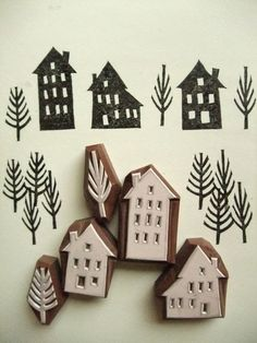 stamps hand carved rubber stamps by talktothesun. winter street rubber stamp set with 3 house stamps + 2 tree stamps. scandinavian village style craft stamp series for your christmas + winter diy crafts. about - tree stamp. Stamp Printing, Printing On Fabric, Clay Stamps, Stamp Carving, Carving Wood, Handmade Stamps, Handmade Gifts, 242, Blog Deco