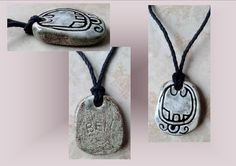Mayan BEN Reed Ceramic Necklace Mesoamerican Tzolk'in Day Sign Amulet Clay Pottery Pendant