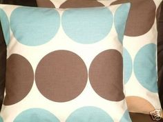 "2 16"" Duck Egg Blue Chocolate Brown Spot Funky Contemporary Designer Cushion Covers,Pillowcases,Pillow Covers,Pillow"