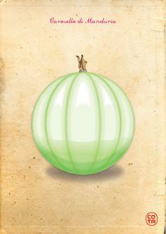 carosello di Manduria a pera, ortaggi, illustrazione, arte digitale - Melon from Manduria (TA) Italy, vegetables, illustration, digital art