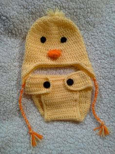 Baby Duck hat and diaper cover