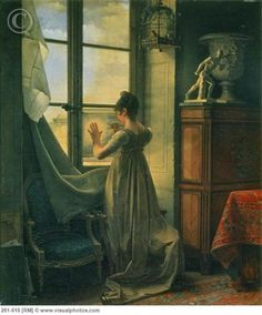 By the Window oil on canvas by Martin Drolling, French, 1752-1817.     Pen in hand, the young lady appears to be tracing something with help from the light through the window.     Drolling's genre painting was honest and simple. From 1802-1812, he was employed by the Sevres porcelain factory and many of his designs were engraved. This work is held by the Pushkin Museum of Fine Arts in Moscow, Russia.