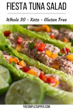 Flavorful and quick this fiesta tuna salad boats are the perfect lunch time solution or mid-afternoon snack. With only a few simple ingredients! Healthy Appetizers, Healthy Salad Recipes, Lunch Recipes, Paleo Recipes, Supper Recipes, Crockpot Recipes, Healthy Snacks, Afternoon Snacks, Mid Afternoon