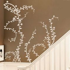 This would be bitchin in the guest bath Rose Buds Thorns and Vines - Vinyl Wall Decals