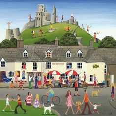"""""""Corfe Castle"""" - Louise Braithwaite returns with this fun painting of one of best-known landmarks, Castle. Best Jigsaw, Corfe Castle, Wooden Jigsaw Puzzles, Education And Training, Naive Art, Historical Pictures, Whimsical Art, Art Pages, Pretty Pictures"""