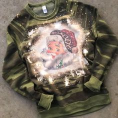 Santa Bleached Sweatshirt: Camo (PREORDER) Badass Style, Cool Style, Trendy Girl, Online Fashion Boutique, Santa Baby, Last Call, Flare Pants, Top Pattern, Online Boutiques