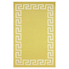 Bring a pop of pattern to your living room or master suite with this flatweave wool rug, showcasing a sunflower hue and classic Greek key border.  ...