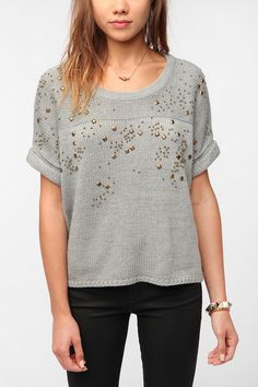 Sparkle & Fade Beaded Short-Sleeved Sweater