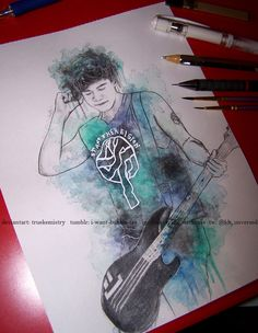 Calum Hood-By TrueKemistry. I like this picture because it has very cool design and the bass looks like the real bass that Calum has. The colors blend really well. The colors stand out really well. Calum Hood, Calum Thomas Hood, Luke Hemming, 5sos Drawing, 5sos Fan Art, Bae, 1d And 5sos, Second Of Summer, My Tumblr