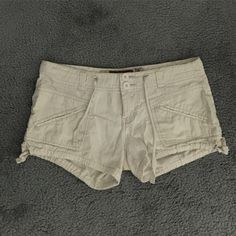 white denim short shorts white shorts with a string for waist band Jeans