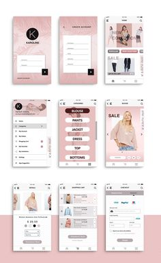 "UI Design for ""Karoline"" shop app on Behance Best Picture For fashion App Design For Your Taste You are looking for something, and it is going to tell you exactly what you are looking for, and you did Iphone App Design, Android App Design, App Ui Design, Android Apps, User Interface Design, Design Design, Branding Design, App Design Inspiration, Mobile Ui Design"