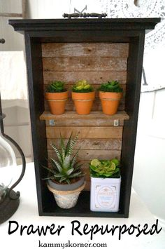 Kammy's Korner: SIX Projects With Old Lath boards: Repurposed Drawer into shabby chic shelf for succulents Shabby Chic Shelves, Shabby Chic Kitchen, Shabby Chic Homes, Shabby Chic Decor, Boho Decor, Repurposed Items, Repurposed Furniture, Shabby Chic Furniture, Home Furniture