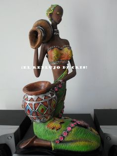 afric African American Figurines, African American Art, African Art, Black Figurines, African Dolls, African Theme, Black Women Art, African Culture, Mural Art