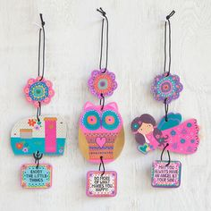 """Mobile Air Fresheners - Adorable 3-piece mobile air freshener that dangles from your rearview mirror. Owl and flower with """"Do More of What Makes You Happy"""" sentiment. One air freshener, violet scent."""