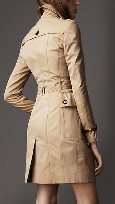 Long Cotton Gabardine Peplum Pocket Trench Coat | Burberry