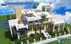 [Modern] Luxurious living mansion (at 'WOK' and 'Minecraft Monday yo. Minecraft Mods, Minecraft Villa, Modern Minecraft Houses, Minecraft Plans, Minecraft House Designs, Amazing Minecraft, Minecraft Architecture, Minecraft Blueprints, Minecraft Buildings