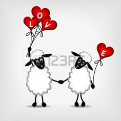 two sheep in love with red hearts - balloons and text LOVE - vector illustration photo