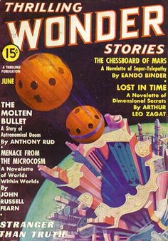 """Thrilling Wonder Stories (June 1937) including """"Green Hell"""" (Gerry Carlyle) by Arthur K. Barnes."""