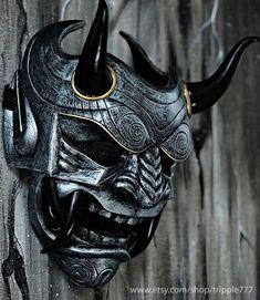 Samurai Assassin Dämon Oni BB Gun Airsoft Maske, Halloween Kostüm Cosplay Ninja Krieger Teufel Böse Hannya Kabuki Home Decor Wandmaske Japanese Demon Mask, Japanese Mask Tattoo, Oni Mask Tattoo, Hanya Tattoo, Tatuajes Irezumi, Irezumi Tattoos, Samurai Maske Tattoo, Oni Samurai, Mascara Oni