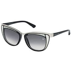 Pre-Owned Swarovski Diva Black White Sunglasses (68.930 HUF) ❤ liked on Polyvore featuring accessories, eyewear, sunglasses, metal sunglasses, swarovski eyewear, cat-eye glasses, sparkly glasses and swarovski glasses