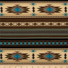 Designed for Elizabeth's Studio, this southwestern inspired cotton print fabric is perfect for quilting, apparel, crafts, and home decor items. Stripes run perpendicular to the selvage. Colors include antique, brown, black and turquoise.
