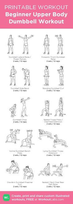 Fitness Motivation : Beginner Upper Body Dumbbell Workout– my custom exercise plan created at Work...