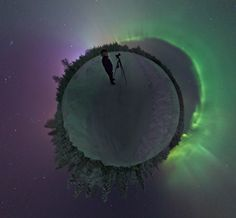 Planet Aurora Borealis (Jan 28 2012)  Image Credit & Copyright: Göran Strand Illuminated by an eerie greenish light, this remarkable little planet is covered with ice and snow and ringed by tall pine trees. Of course, this little planet is actually planet Earth, and the surrounding stars are above the horizon near Östersund, Sweden. The pale greenish illumination is from a curtain of shimmering Aurora Borealis also known as the Northern Lights. #astronomy
