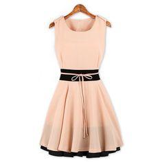 Elegant Scoop Neck Color Splicing Zipper Embellished Flouncing Hem Sleeveless Polyester Women's Dress, PINK, XL in Dresses 2014   DressLily.com
