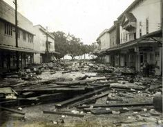 Damage from the tsunami of April 1, 1946. Hilo, Hawaii