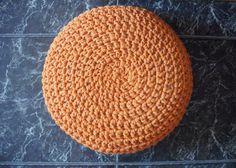 Orange crochet Pouf  Housewares  Home Decor by NavitrineShop