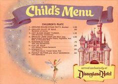 Disneyland Menu, Scrambled eggs with jelly sandwiches! Disneyland knew what was up Retro Disney, Old Disney, Disney Food, Disney Magic, Disney Recipes, Punk Disney, Disney Travel, Comida Disneyland, Disneyland Hotel