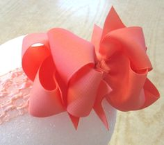 Coral Layered Hair Bow for Mary Grace