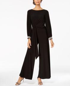 c0f6a668c55 Msk Rhinestone-Embellished Wide-Leg Jumpsuit - Black XL Black Jumpsuit