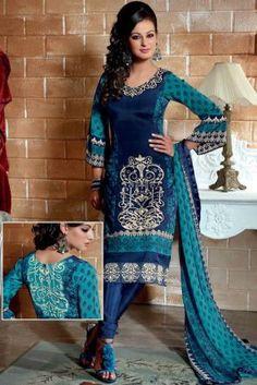 Blue Crepe Partywear Embroidered Indian Salwar Kameez for Price Shop Online Indian Salwar Kameez with COD, Warranty. Pakistani Salwar Kameez, Salwar Kameez Online, Salwar Suits, Churidar, Indian Dresses, Indian Outfits, Latest Salwar Suit Designs, Desi Clothes, Indian Clothes
