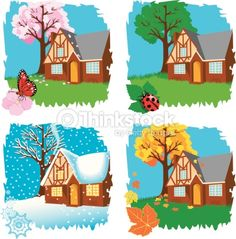 Clipart vectoriel : Four seasons Beautiful Landscape Wallpaper, Beautiful Landscapes, Four Seasons Art, 3d Wall Painting, Seasons Activities, Writing Pictures, Weather Seasons, Crafts For Kids, Images