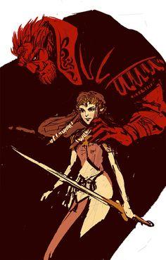 Ganondorf and Princess Zelda - The Legend of Zelda: Twilight Princess; fan art by corseque