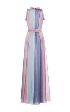 This **Luisa Beccaria** dress features a tri colored fabric construction and a keyhole detail on the bodice.