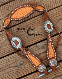 Gorgeous orange tangelo gator browband headstall with turquoise and fire opal Swarovski crystals. Horse tack. Maker: Silver C Tack Order at: www.silverctack.com