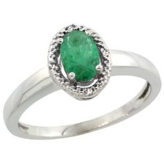 14K White Gold Diamond Halo Natural High Quality Emerald Engagement Ring Oval 6X4 mm, size 6.5, Women's