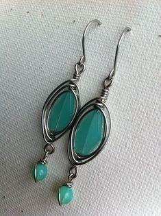 Herringbone weave wirework earrings