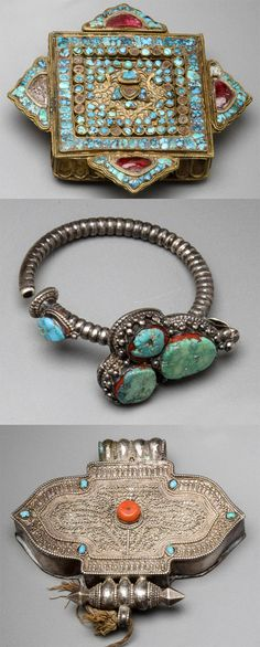 Tibet | 2 amulet boxes 'Gua' and 1 man's earring; silver, turquoise and coral.   | 19th century