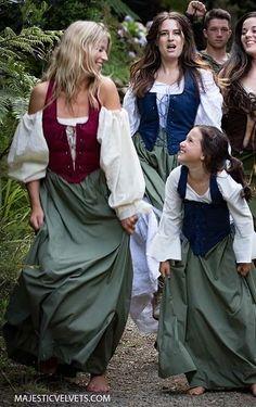 3P WOMEN RENAISSANCE PEASANT PIRATE DRESS & CHEMISE 2 4 6 8 10 12 14 16 18 22 24 #MajesticVelvets #Dress