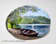 Rock Painting Landscape With Boat Next To The Lake ! Painted with Acrylic paints and finished with Glossy varnish protection.