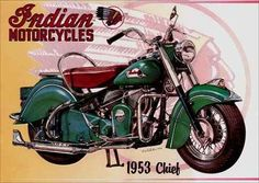 135 - MOTORCYCLE - INDIAN 1953 - Motorcycles Chief - 41x29-